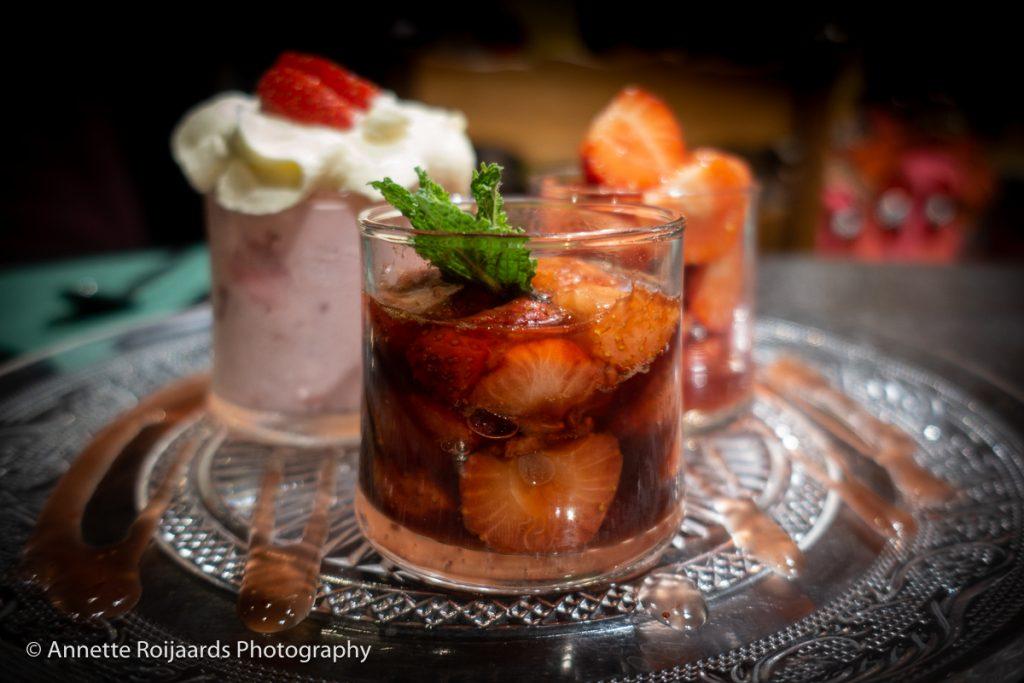 Trio van aardbeien bij Gastrobar Hartig